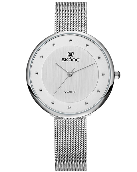 SKONE Gloucester Ladies Silver Watch - Stainless Steel Mesh Strap