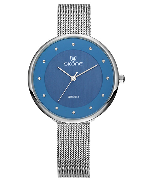 SKONE Gloucester Ladies Blue Watch - Stainless Steel Mesh Strap