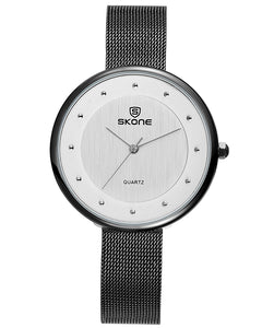 SKONE Gloucester Ladies Black Watch - Stainless Steel Mesh Strap