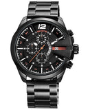 Skone Boston Chrono Mens Watch - Black Stainless Steel Strap