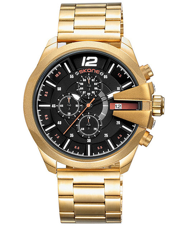 Skone Boston Chrono Mens Watch - Gold Stainless Steel Strap