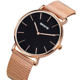 Skone Camden Mens Black Watch - Rose Gold Stainless Steel Mesh Strap