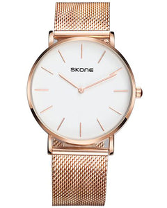 Skone Camden Mens White Watch - Rose Gold Stainless Steel Mesh Strap