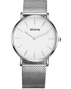 Skone Camden Mens White Watch - Silver Stainless Steel Mesh Strap