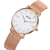 Skone Camden Ladies White Watch - Rose Gold Stainless Steel Mesh Strap