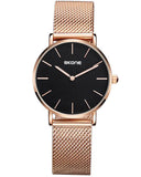 Skone Camden Ladies Black Watch - Rose Gold Stainless Steel Mesh Strap