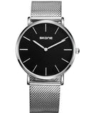 Skone Camden Mens Black Watch - Silver Stainless Steel Mesh Strap