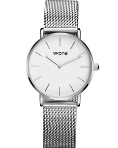 Skone Camden Ladies White Watch - Silver Stainless Steel Mesh Strap