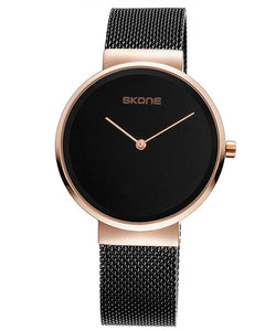 Skone Nelson Mens Watch Rose Gold & Black - Black Stainless Steel Mesh Strap