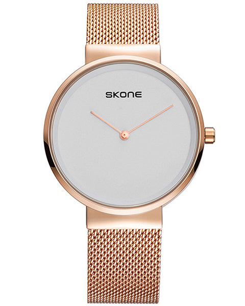 Skone Nelson Mens Watch Rose Gold - Rose Gold Stainless Steel Mesh Strap
