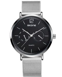 Skone Chiswick Mens Silver & Black Watch - Stainless Steel Mesh Strap