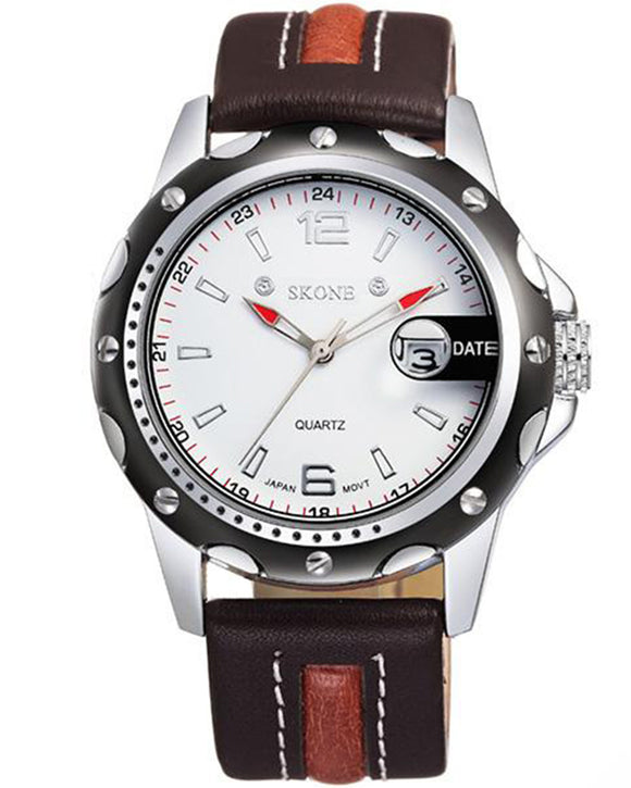 SKONE Bathgate Mens White & Brown Watch - Leather Strap