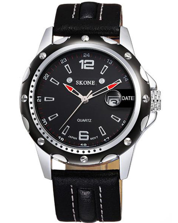SKONE Bathgate Mens Black Watch - Leather Strap