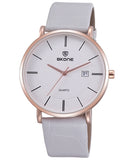 SKONE Perth Mens Rose Gold Watch - White Strap