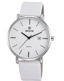 SKONE Perth Mens Silver Watch - White Leather Strap