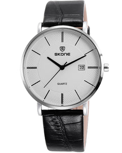 SKONE Perth Mens Silver Watch - Black Strap