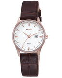 SKONE Hamilton Ladies Rose Gold Watch - Brown Leather Strap
