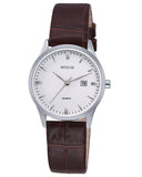 SKONE Hamilton Ladies Silver Watch - Brown Leather Strap