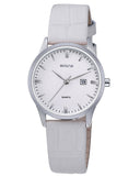 SKONE Hamilton Ladies Silver Watch - White Leather Strap