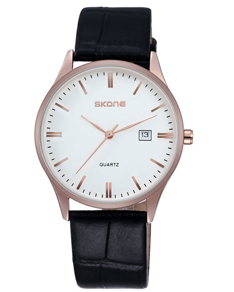 SKONE Hamilton Mens Rose Gold Watch - Black Leather Strap