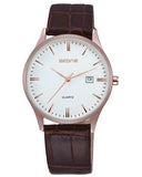 SKONE Hamilton Mens Rose Gold Watch - Brown Leather Strap
