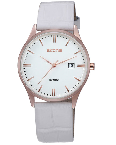 SKONE Hamilton Mens Rose Gold Watch - White Leather Strap