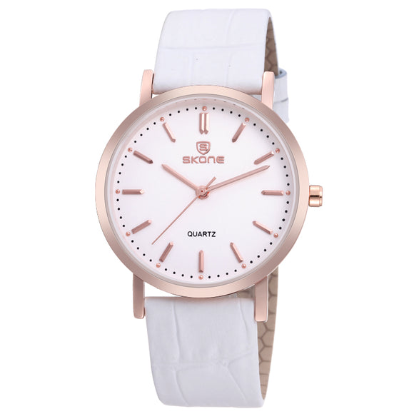 SKONE Shrewsbury Mens Rose Gold Watch - White Leather Strap