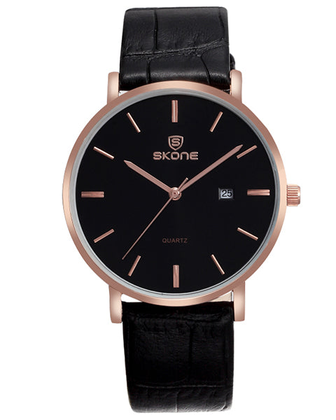 Skone St Andrews Mens Black Watch - Leather Strap