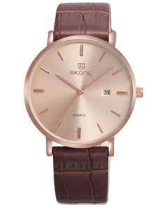SKONE St Andrews Mens Rose Gold Watch - Leather Strap