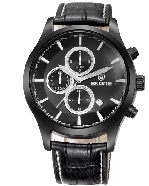 SKONE Dundee Mens Black Chrono Watch - Black Leather Strap