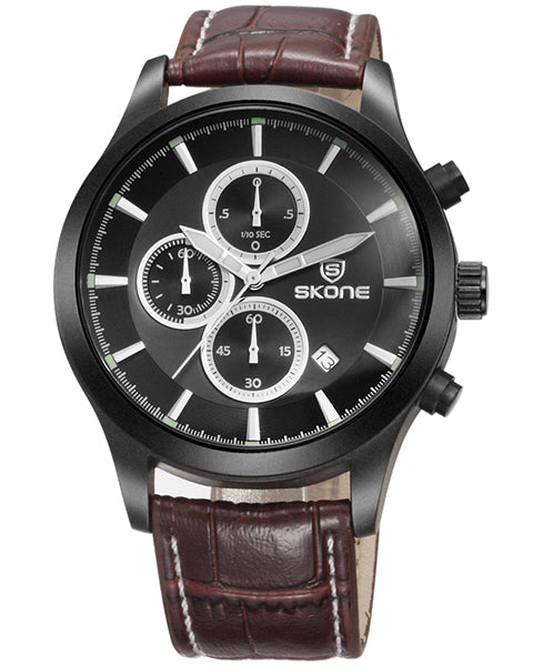 SKONE Dundee Mens Black Chrono Watch - Brown Leather Strap