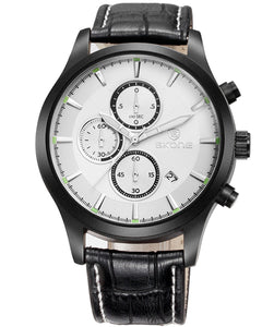 SKONE Dundee Mens Pearl White Chrono Watch - Black Leather Strap