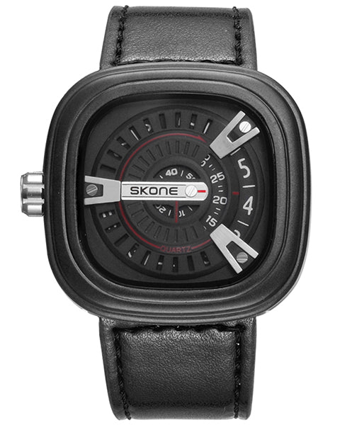SKONE Wembley Mens Black Watch - Leather Strap
