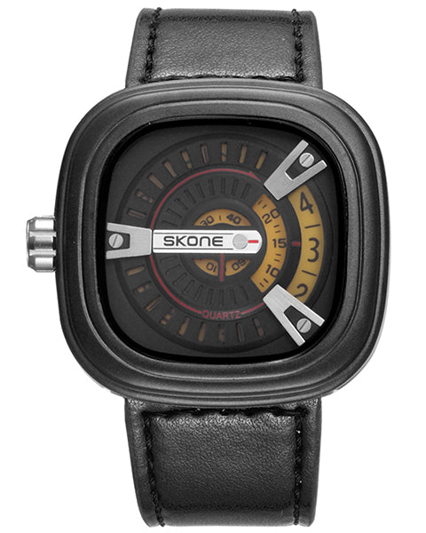 SKONE Wembley Mens Yellow Watch - Leather Strap