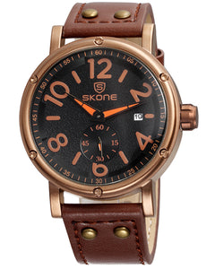 SKONE Glasgow Mens Watch - Chestnut Brown Strap