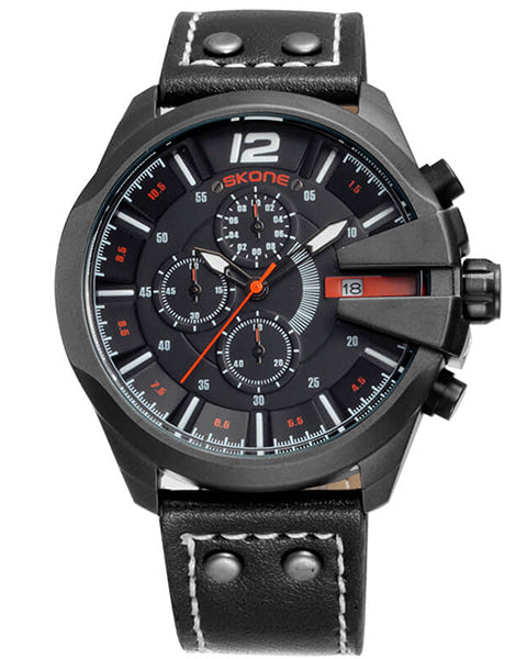 Skone Boston Chrono Mens Watch - Black Strap