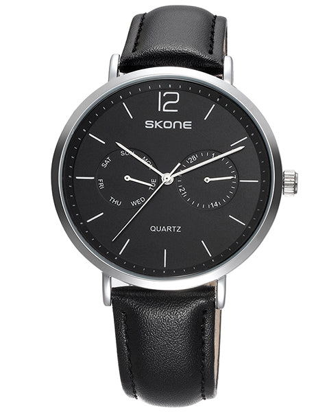 Skone Chiswick Mens Silver and Black Watch - Black Strap