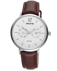 SKONE Chiswick Mens Silver Watch - Brown Strap