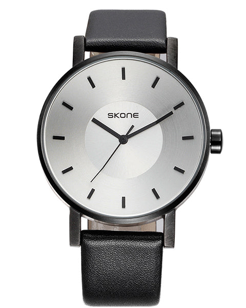 SKONE Lancaster Mens White Watch - Black Strap