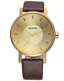 SKONE Lancaster Mens Gold Watch - Brown Strap