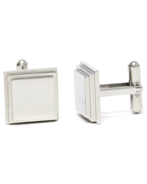 Skone Square Bar Cufflinks - Silver