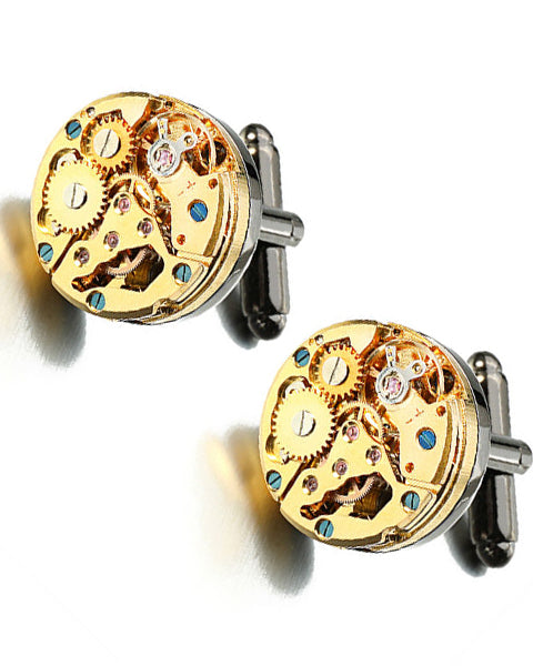 Skone Cufflinks - Black & Gold Round Swivel Bullet