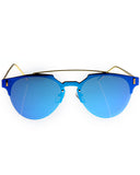 Skone Margate Retro Brow Bar Sunglasses - Blue