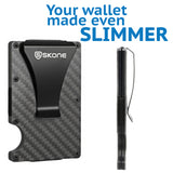 Ultra Slim Card Holder Wallet & Money Clip - RFID Blocking - Carbon Fiber