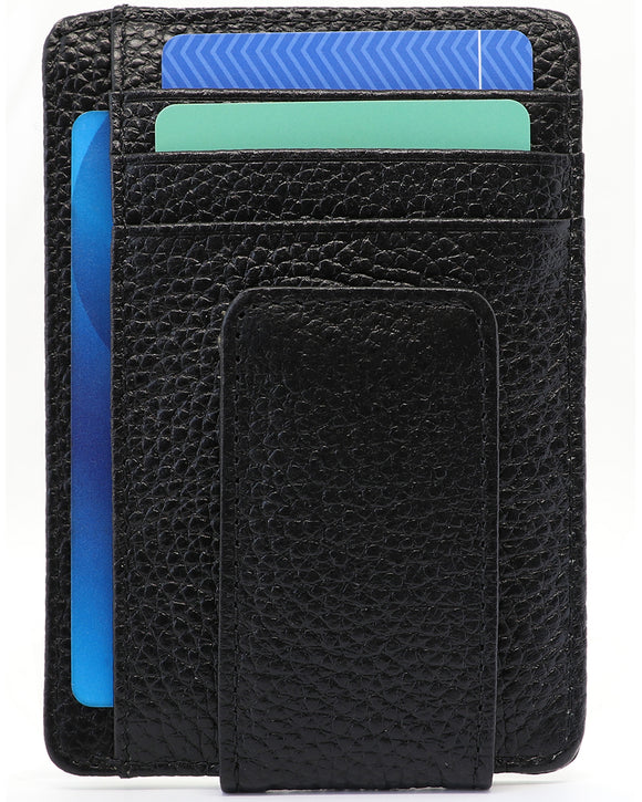Genuine Leather Minimalist Wallet With Magnetic Money Clip RFID -Black