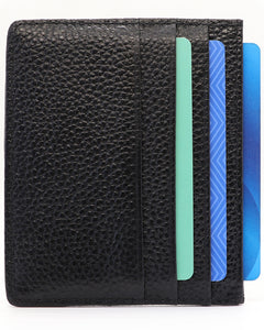 Genuine Leather Slim Minimalist Wallet-RFID Blocking-Black
