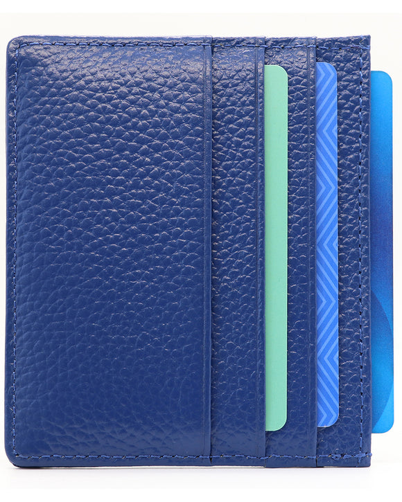 Genuine Leather Slim Minimalist Wallet-RFID Blocking-Blue