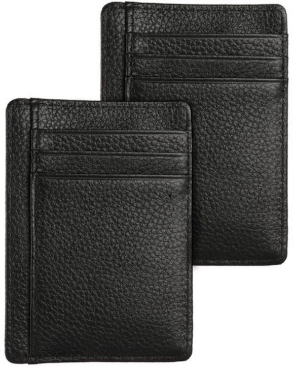 Genuine Leather Minimalist Wallet-RFID Blocking - Black - 2 Pack