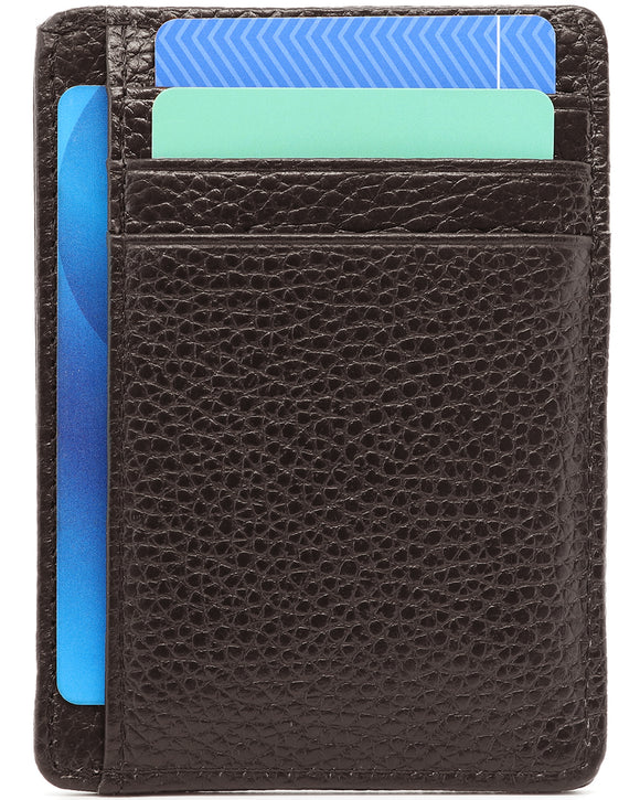 Genuine Leather Minimalist Wallet-RFID Blocking-Dark Brown