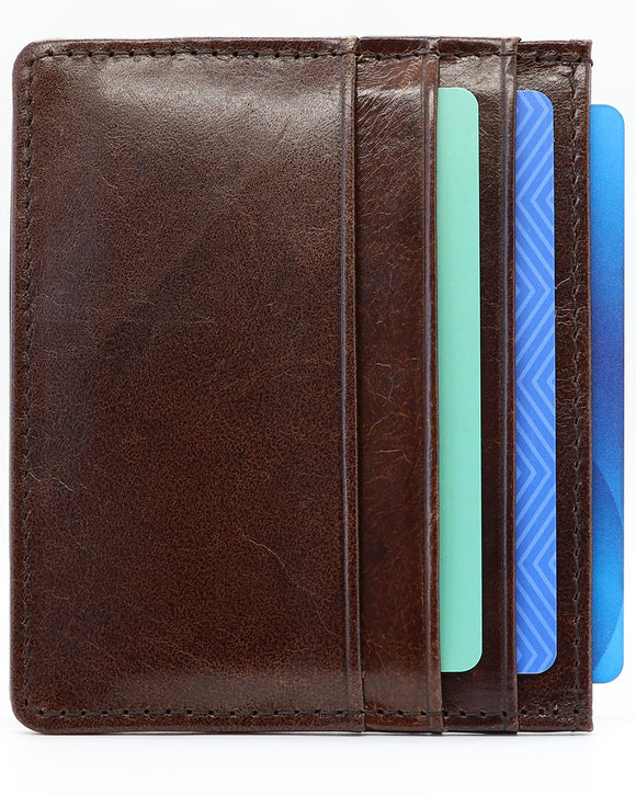 Minimalist Wallet - Genuine Leather - RFID Blocking-Dark Brown